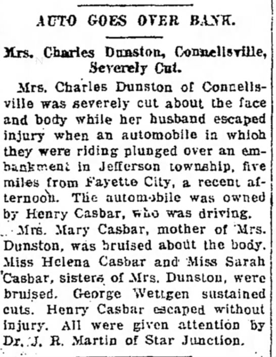 Henry Casbar auto accident The Daily Courier Connellsville PA Page 2 August 8 1919 -