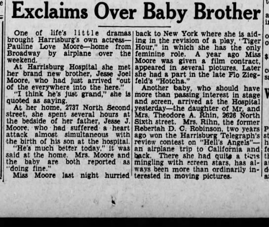 Pauline Moore's brothers birth -