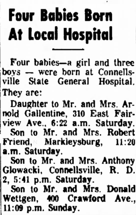 son born to mr and mrs donald wettgen page 15 the daily courier may 6 1968 -