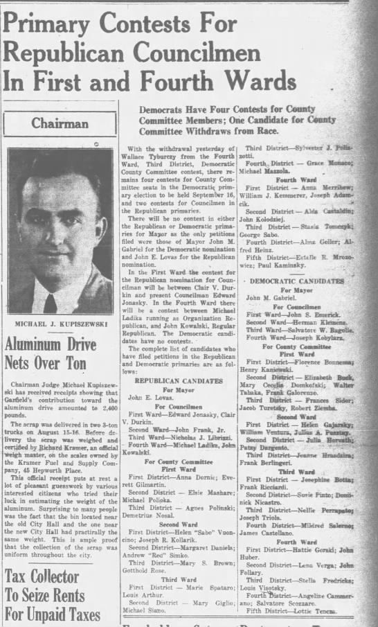 The Garfield Guardian Garfield Nj 15 Aug 1941 Pg 1 Col 5 7 Primary Elections Newspapers Com