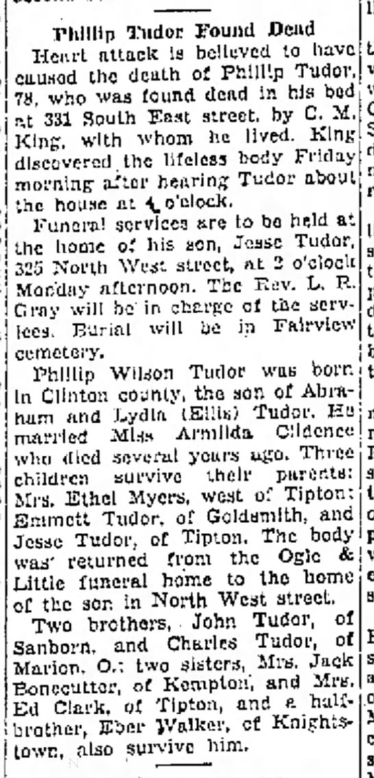 Phillip Tudor obit 17 Feb 1940 -