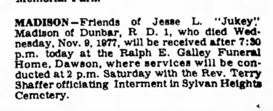 daily courier - 11/10/77 - jukey madison - funeral announcement times and dates -