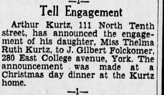 Engagement of Thelma and John Folckomer  - Tell Engagement Arthur Kurtz. Ill North Tenth...