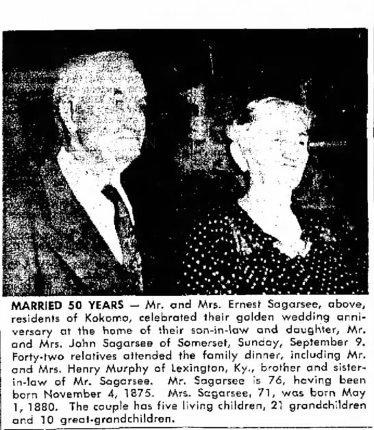 Mr & Mrs Ernest L Sagarsee Golden Anniversary -