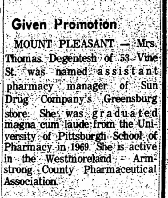 From the Daily Courier, Connellsville, PA 2 May 1970 -