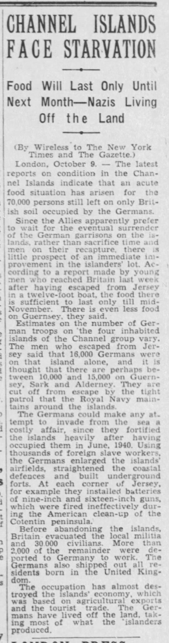 """""""Channel Islands Face Starvation"""" 10/10/1944 -"""