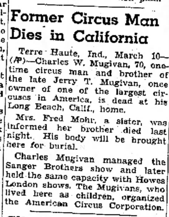 """Mugivan Charles Obit3-11-1942 - 'on"""" he him the Bank was Grimm Former Circus..."""