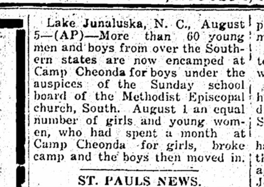 boys camp - Lake Junaluska, N. C., August 5--(AF)--JMore...