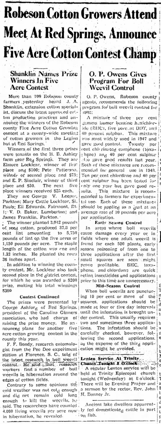 FF Bondy 25 Feb 1948 Robeson Cotton Growers Attend Meet -