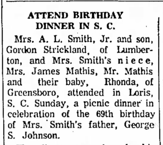 George Johnson birthday - for No P.M. ATTEND BIRTHDAY DINNER IN S. C. j...