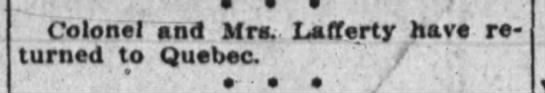lafferty s back to quebec - Colonel and Mrs. Lafferty have returned to...