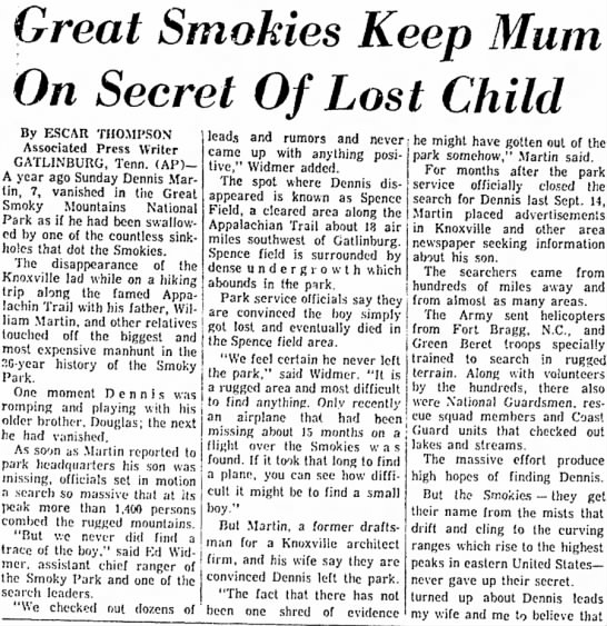 Great Smokies Keep Mum On Secret Of Lost Child -