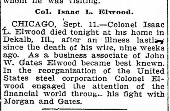 Death of Col. Isaac L. Elwood 1910 in Chicago;  NE paper -