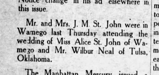 Wedding Announcement: Alice St  John and Wilbur Neal