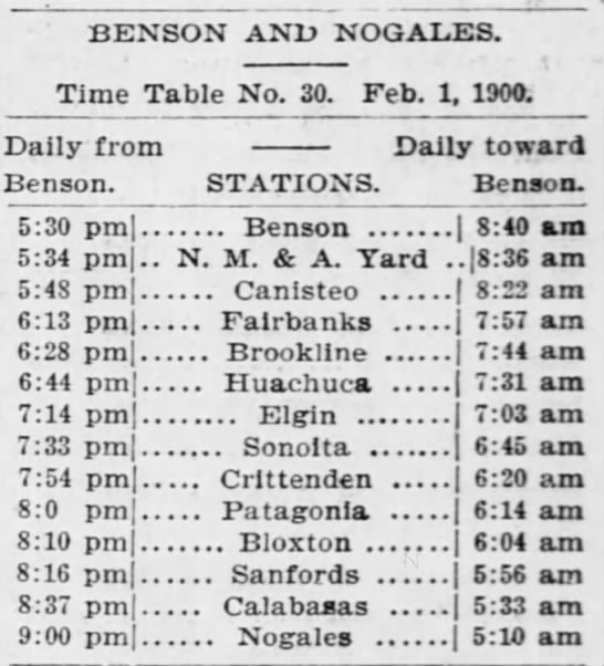 BLOXTON, AZ Station Timetable - The Arizona Republican (PHX), Pg 6 - Aug 18, 1900 - BENSON AND NOG ALES. Time Table No. 30. Feb. 1,...