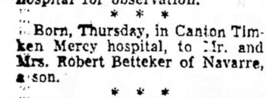 Ron's birth announcementMarch 1965 - '.,' * * * ; .Born, Thursday, in Canton Timken...