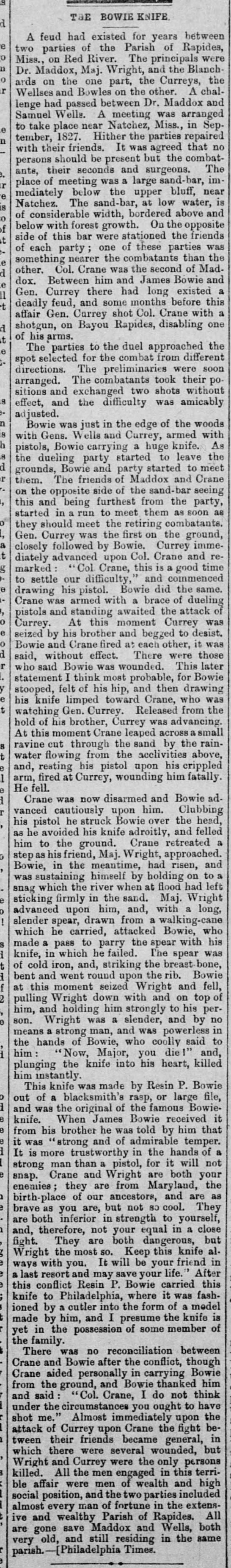 The Record-Union (Sacramento) March 12, 1881 p. 2 The Bowie Knife -