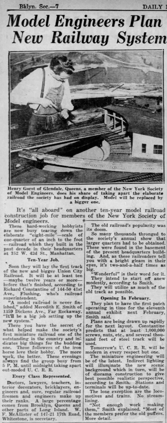"""A model railroad is never finished"" (1938). -"