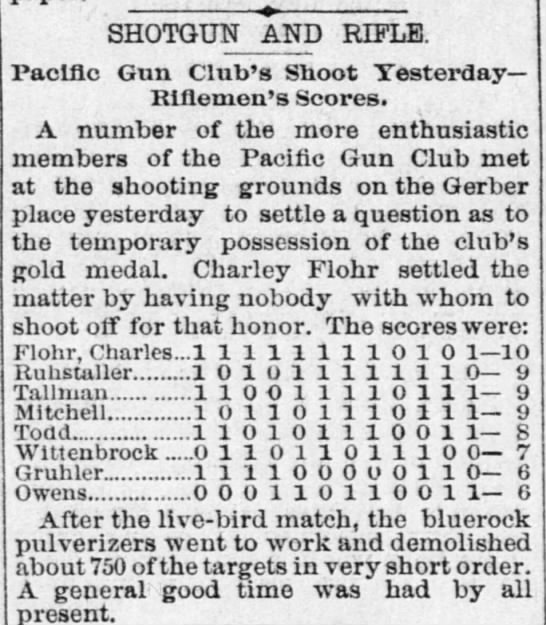 Charley Flohr, Pacific Gun Club Shoot, 08 Jun 1891, The Record-Union, Sacramento, CA -