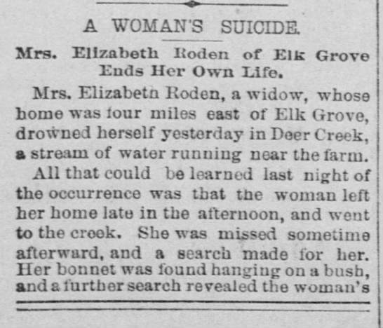 The Record-Union 13 Oct 1893 Elizabeth Roden - -«> A WOMAN'S SUICIDE. Mrs. Elizabeth ltoden of...