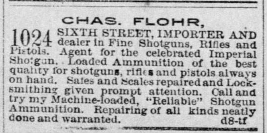 Chas. Flohr, Importer and Dealer, 25 Dec 1891, The Record-Union, Sacramento, CA -