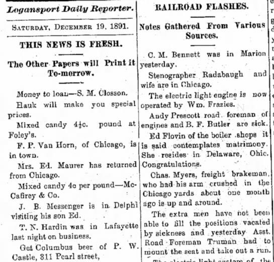 "Ed Flovin ""contemplates matrimony"" - Logansport, IN - 12/19/1891 - Jjogansport Dally Reporter. SATURDAY, DECEMBER..."