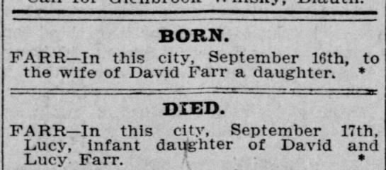 1899-09-18 FARR LUCY - BORN AND DIED -