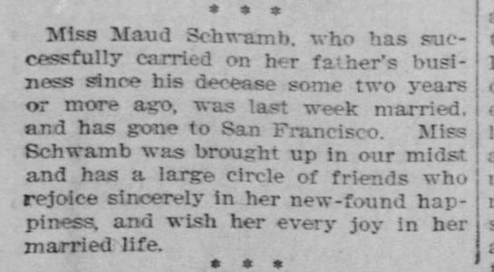 Maud Agnes Schwamb marries John Caswell Connor October 1897 -