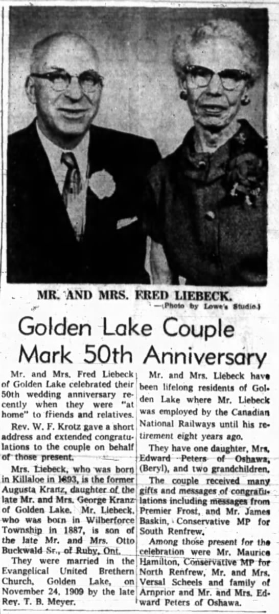 50th Anniversary: Mr. and Mrs. Fred Liebeck -