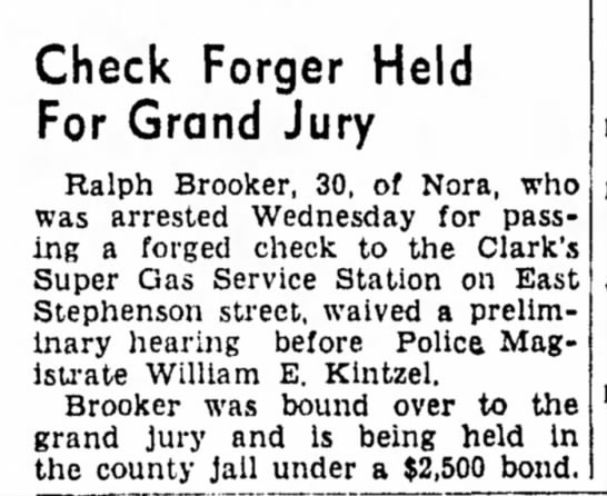 Ralph - Check Forger Held For Grand Jury Ralph Brooker,...