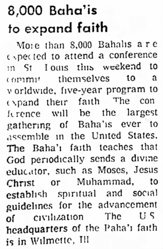 St Louis conference of Baha'is -
