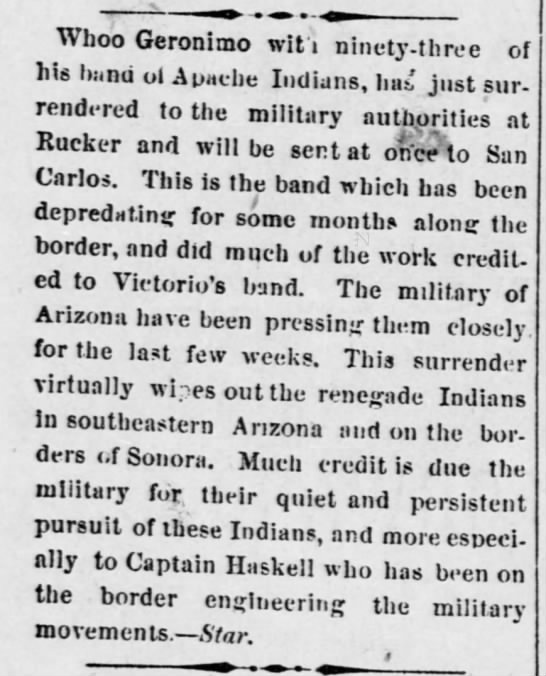 1880 account of capture of Geronimo by US Army -