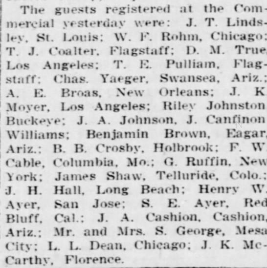 Arizona Republic 11 February 1911 James Shaw -