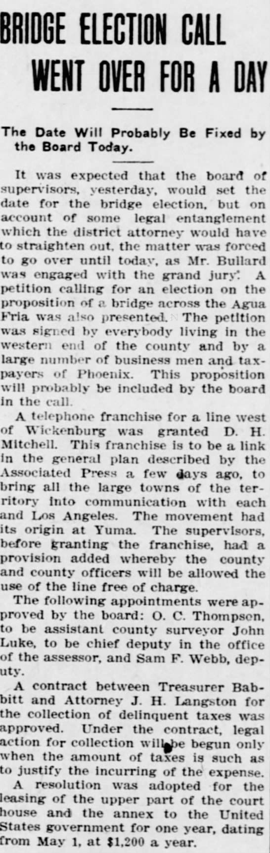 Bridge Election Call Went Over for a Day, Arizona Republican 10 (April 20, 1909). -