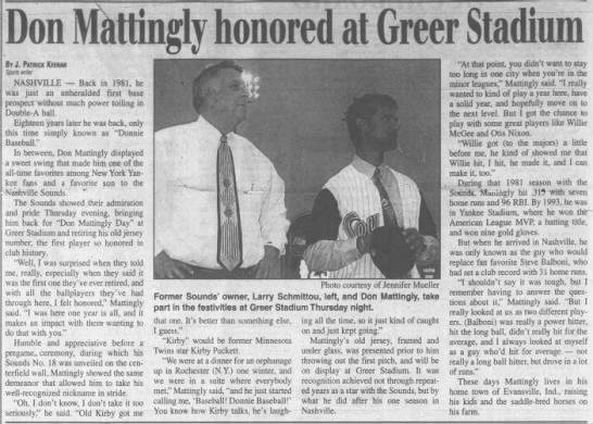Don Mattingly Honored at Greer Stadium -