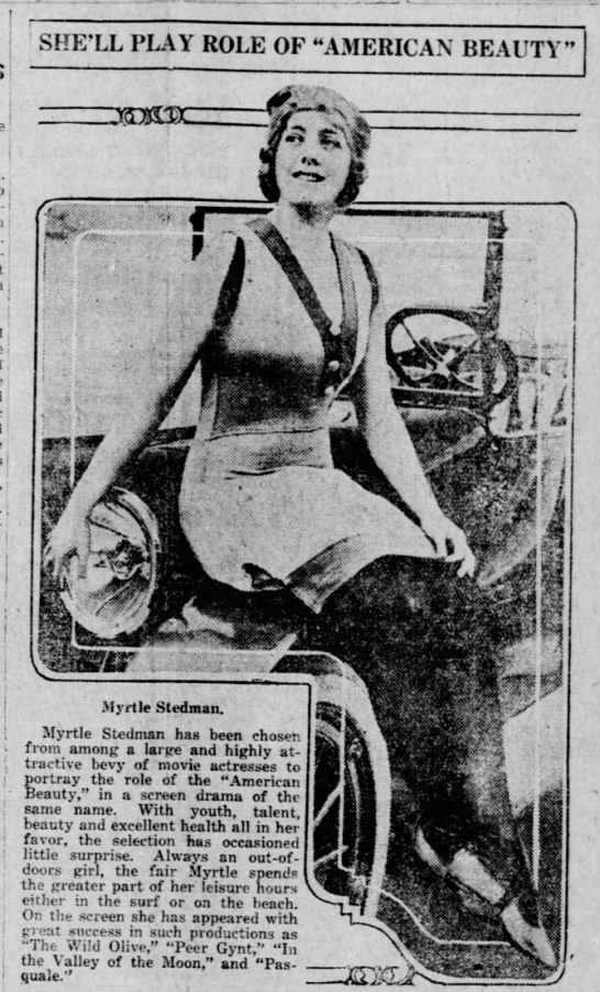 Myrtle Stedman American Beauty Pic Bisbee Daily Review AZ 24 May 1916 -