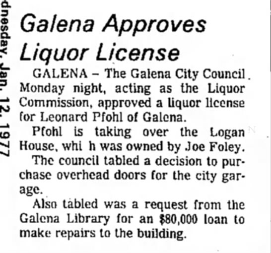 Liquor license for Lenny Pfohl -