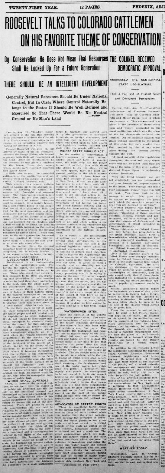 The Arizona Republican(Phoenix, Arizona)30 August 1910, p1 -
