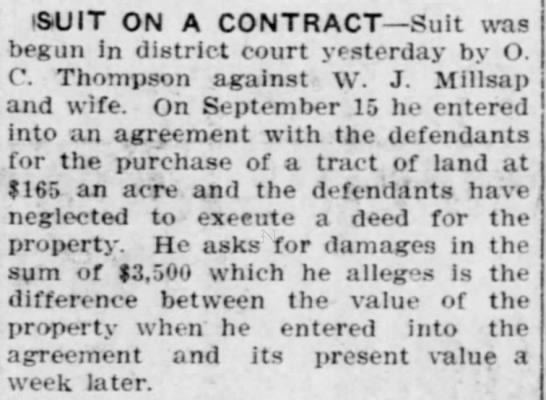 Suite on a Contract, Arizona Republican 6 (Sept. 24, 1910). -