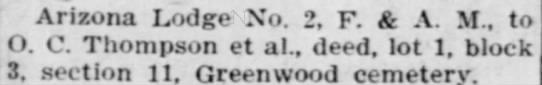 Record of Transfers, Arizona Republican 20 (Dec. 11, 1910). -