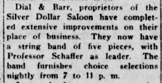 Dial and Bar Silver Dollar Saloon 27 Nov 1912 Weekly Journal Miner -