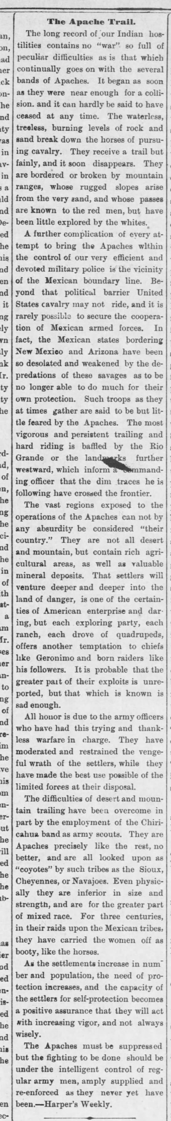 1886 summary of the difficulties the US Army faced in fighting the Apache -
