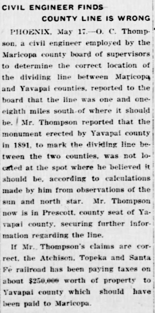 Civil Engineer Finds County Line is Wrong, Tombstone Weekly Epitaph 3 (May 29, 1921). -