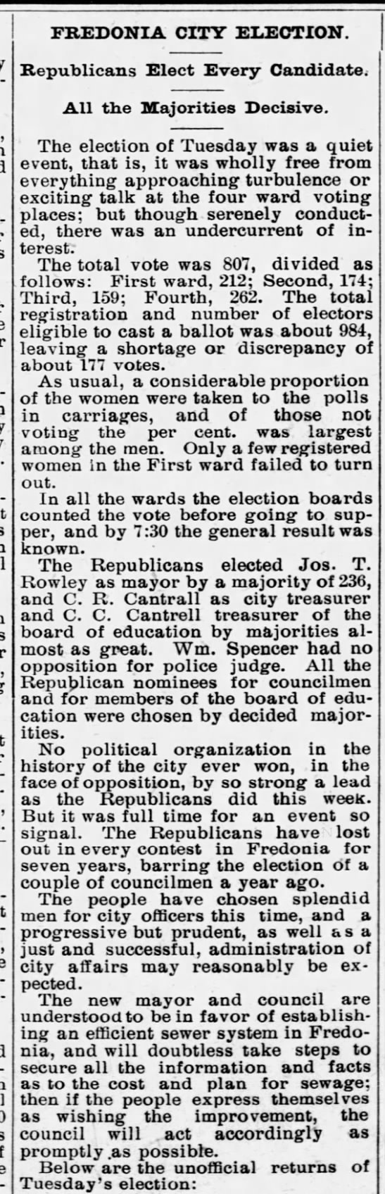 P P Belt 1907-04-05 City Council election results -