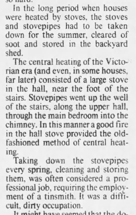 Taking down stoves for the summer during the Victorian age -