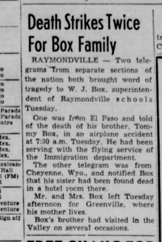 W.J. Box Aug 1950 -