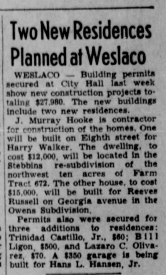 Reeves Russell, Valley Morning Star (Harlingen, TX) 4 June 1950, p. 33, col. 8 -