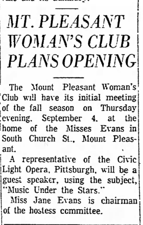 miss jane evans at womans club opening page 5 the daily courier august 16 1958 -
