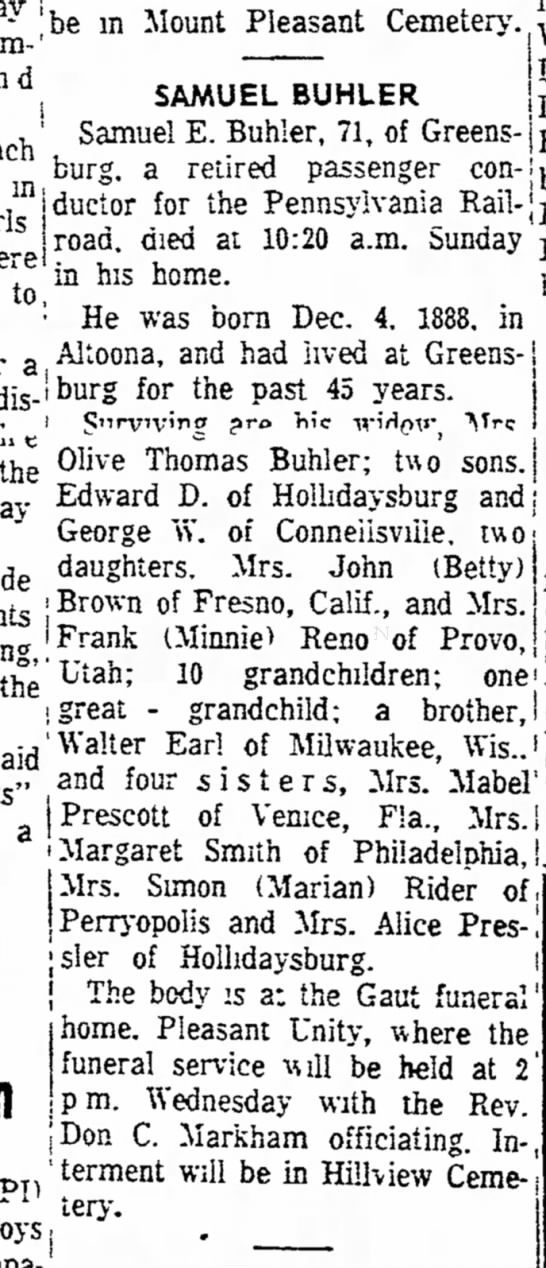 Buehler, Samuel Daily Courier July 25, 1960 p. 2 -