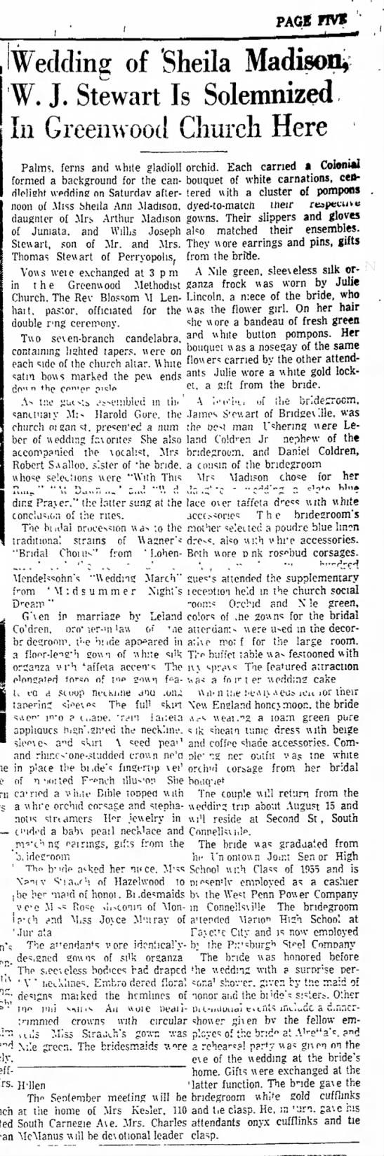 daily courier 8/8/60 - sheila madison stewart wedding announcement -